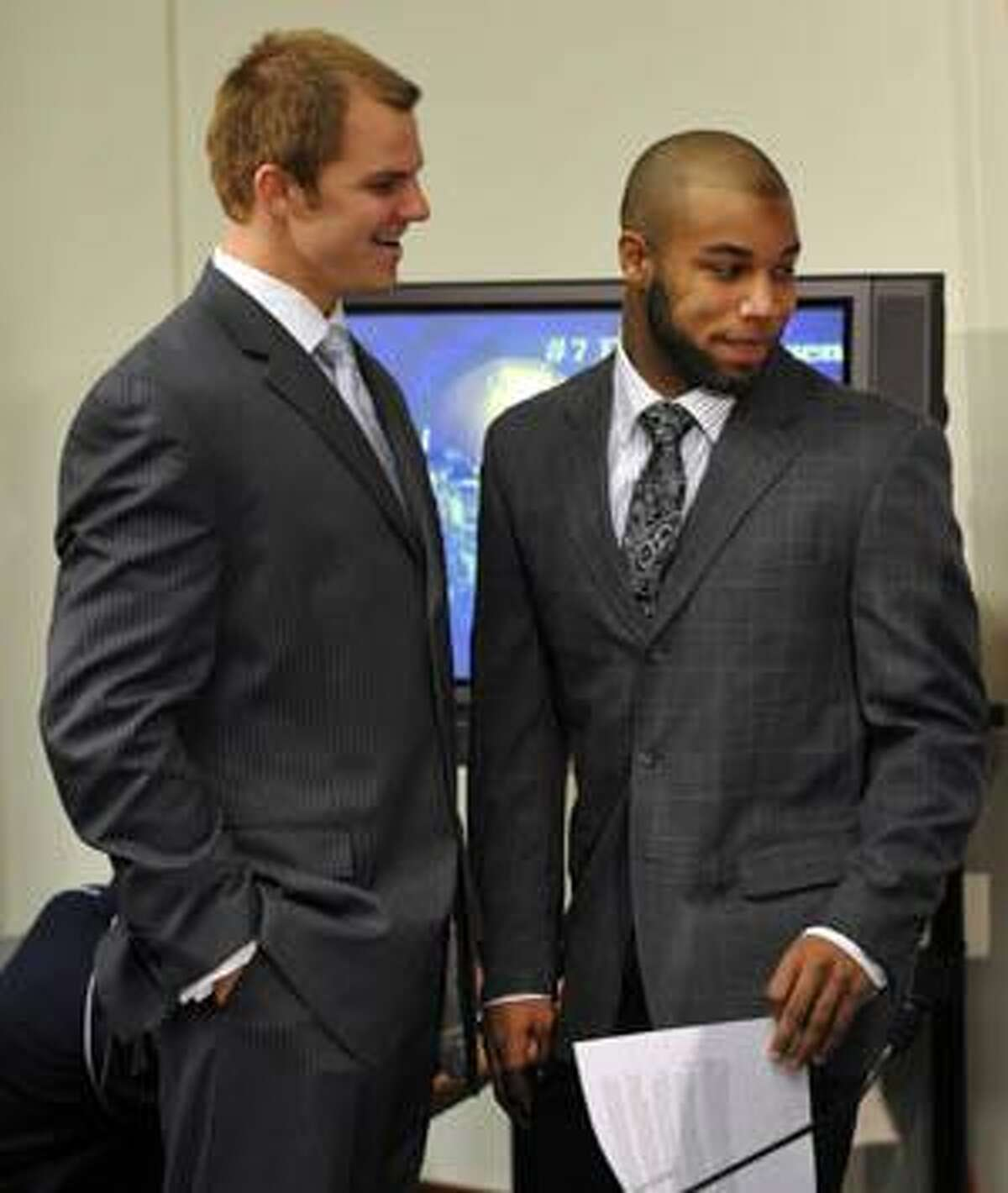 AP Notre Dame Jimmy Clausen talks to wide receiver Golden Tate at a Dec. 7 news conference in South Bend, Ind., where they announced they will bypass their senior seasons at Notre Dame and enter the NFL draft. There could be more undergraduate college players in the NFL draft than ever in 2010.