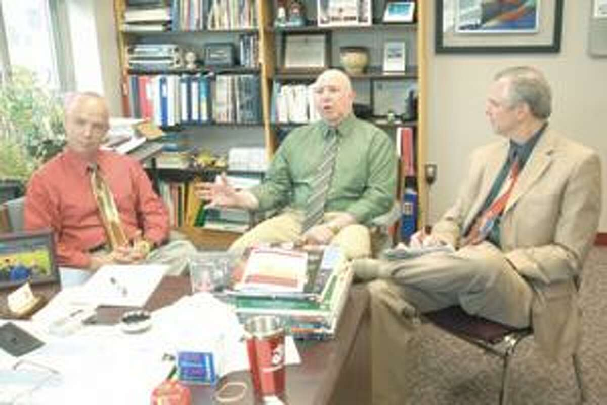 Northwestern Regional High School House Master Ken Chichester, left, Principal Wayne Conner and Region 7 Superintendent Clint Montgomery. Purchase a glossy print of this photo and more at www.registercitizen.com.
