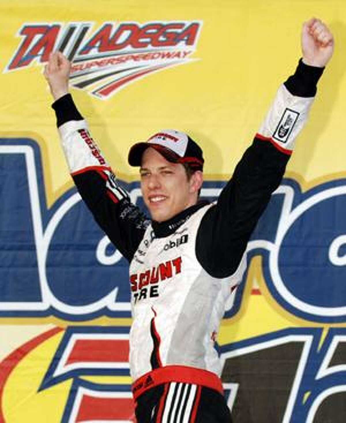 AP Brad Keselowski celebrates after winning the NASCAR Nationwide Series Aaron's 312 auto race at Talladega Superspeedway in Talladega, Ala., Sunday.