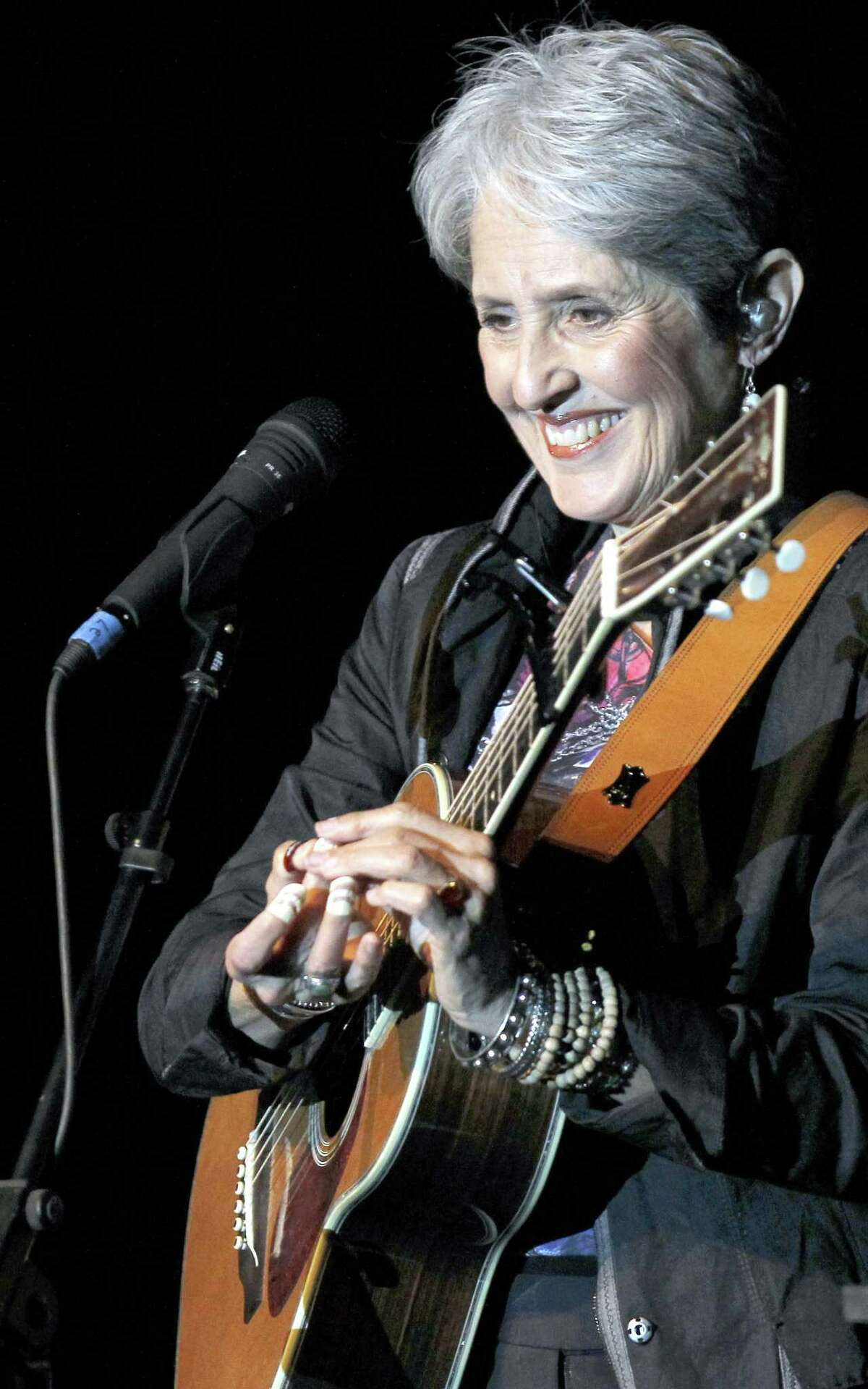 American folk singer Joan Baez is seen at a concert in Burgos, northern Spain, on Wednesday, March 3, 2010. Baez is on a world tour to promote her new album