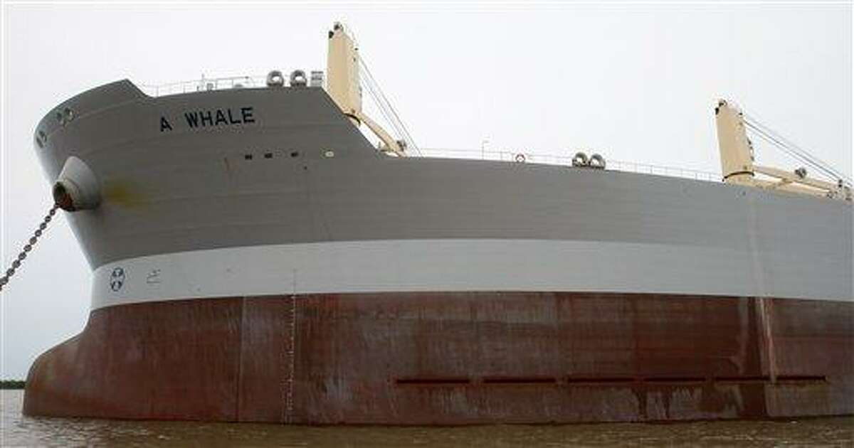 Vents designed to collect oily water, bottom right, are seen on the port side near the bow of the