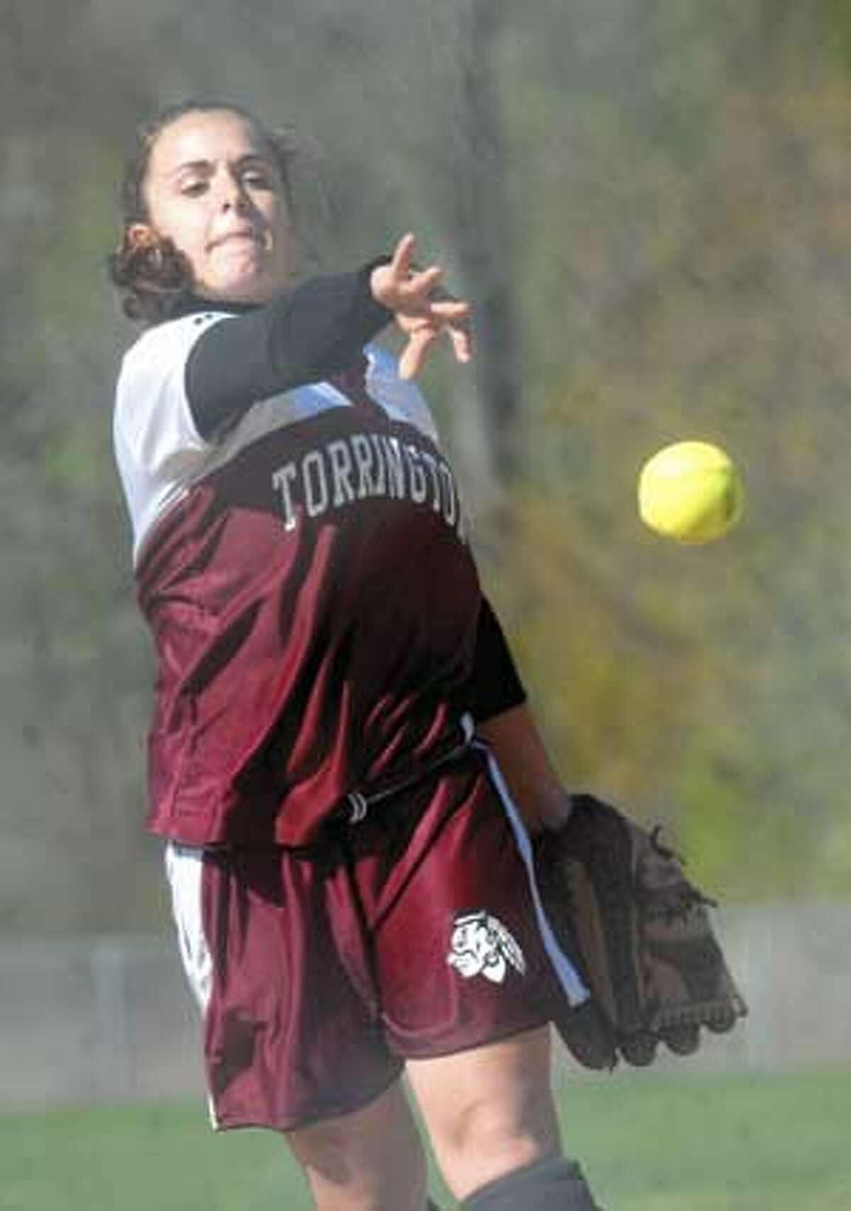 MIC NICOSIA/Register Citizen Torrington's Mollie Bartles delivers a pitch during Friday's game with Sacred Heart. Purchase a glossy print of this photo and more at www.registercitizen.com.