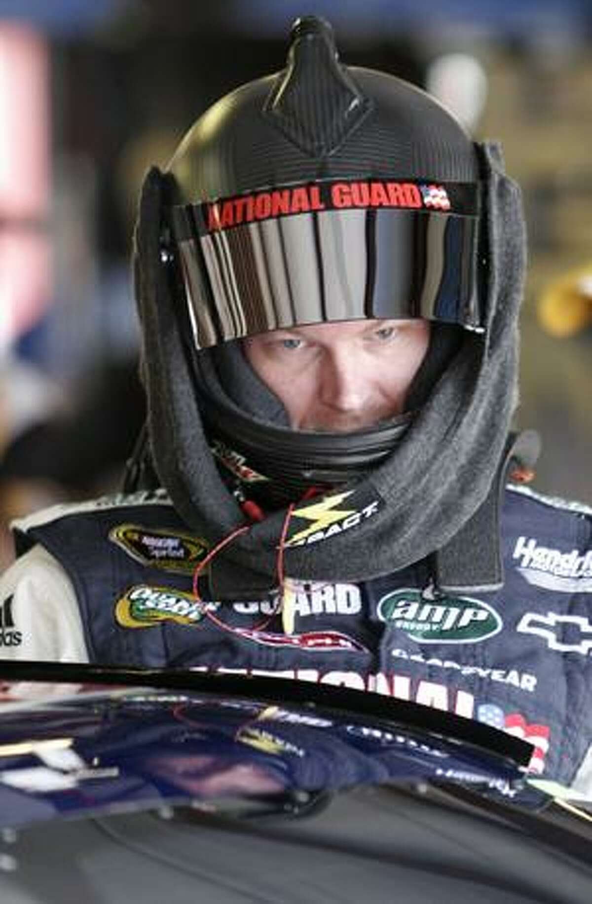 Driver Dale Earnhardt Jr., gets ready to practice for Sunday's NASCAR Sprint Cup Series Aaron's 499 auto race at Talladega Superspeedway in Talladega, Ala., Friday, April 23, 2010. (AP Photo/Glenn Smith)