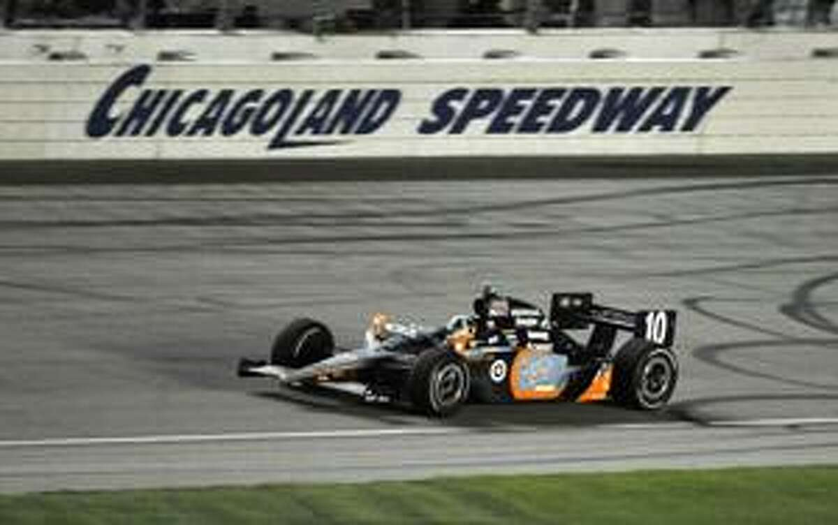 AP Dario Franchitti, of Edinburgh, Scotland, drives toward the end of the IndyCar Series auto race at Chicagoland Speedway in Joliet, Ill., Saturday. Franchitti won the race.