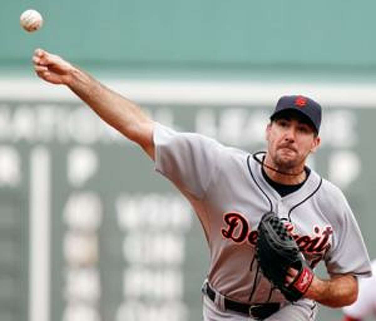 Detroit Tigers' Justin Verlander pitches against the Boston Red Sox during the first inning Thursday in Boston.