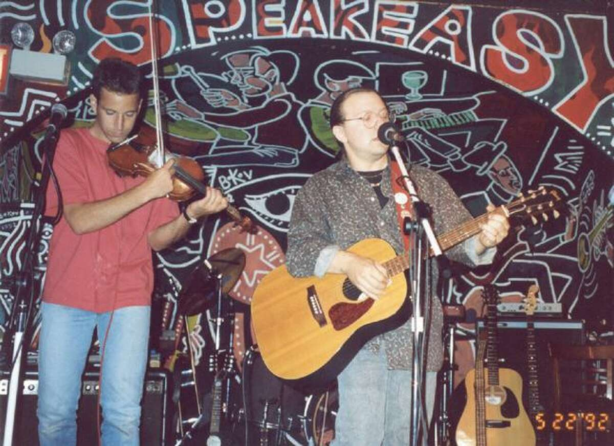 Submitted photo Journalist Daniel Pearl, left, in a photo with his friend Todd Mack performing at a concert in the 1990s. Pearl, a journalist who was murdered by terrorists in 2002, was also an accomplished musician. The FODfest events are held annually to raise awareness, encourage music education and create community spirit.