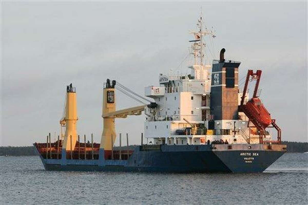 In this Dec. 29, 2008 photo the cargo ship the Arctic Sea is seen in Kotka, Finland. The Arctic Sea, a Maltese-flagged cargo ship, was supposed to make port in Algeria with its cargo of timber on August 4. More than a week later, there's no sign of the ship or its Russian crew. (AP Photo/Pekka Laakso/Lehitukuva)