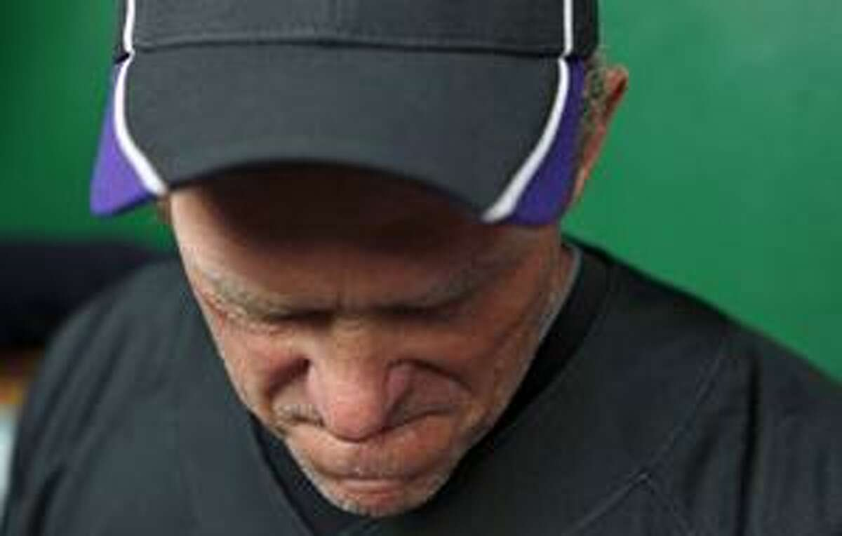 AP Colorado Rockies manager Jim Tracy pauses as he reflects on the death of team president Keli McGregor before the start of Tuesday's game against the Washington Nationals in Washington. McGregor died in a hotel room in Salt Lake City, police said Tuesday.
