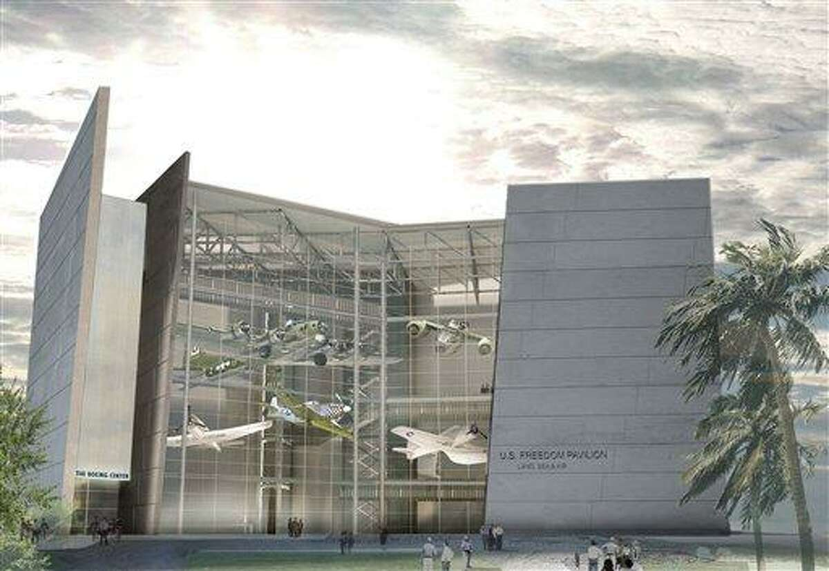 This artist rendering provided by Boeing shows what the US Freedom Pavilion will look like upon completion at The Boeing Center in New Orleans. Construction of the new $35 million exhibit will be formally announced Friday, Aug. 27, 2010. One of Boeing Co.'s most famous World War II aircraft, the B-17G Flying Fortress heavy bomber, will be a centerpiece of the new exhibit. (AP Photo/Boeing)