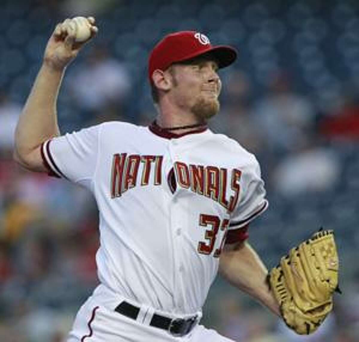 Washington Nationals starting pitcher Stephen Strasburg throws during the second inning of a baseball game against the Florida Marlins, Tuesday, Aug. 10, 2010, in Washington. (AP Photo/Manuel Balce Ceneta)
