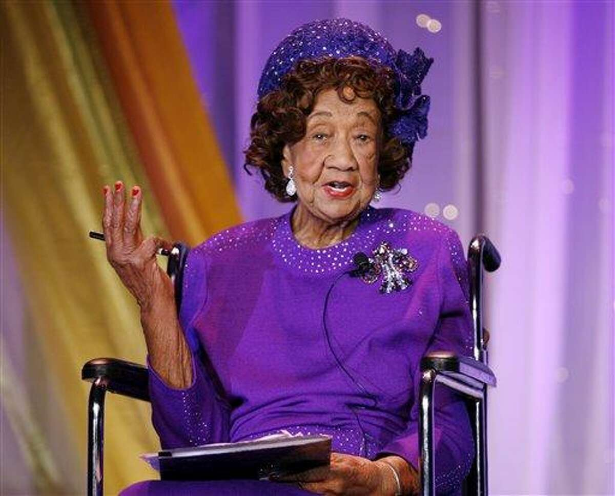 FILE - In this June 4, 2009 file photo, Chair and President Emerita of National Council of Negro Women Dr Dorothy Height speaks during the Uncommon Height Gala honoring Oprah Winfrey in Washington D.C. Height, who as longtime president of the National Council of Negro Women was the leading female voice of the 1960s civil rights movement, died Tuesday, April 20, 2010. She was 98. (AP Photo/Jose Luis Magana, File)