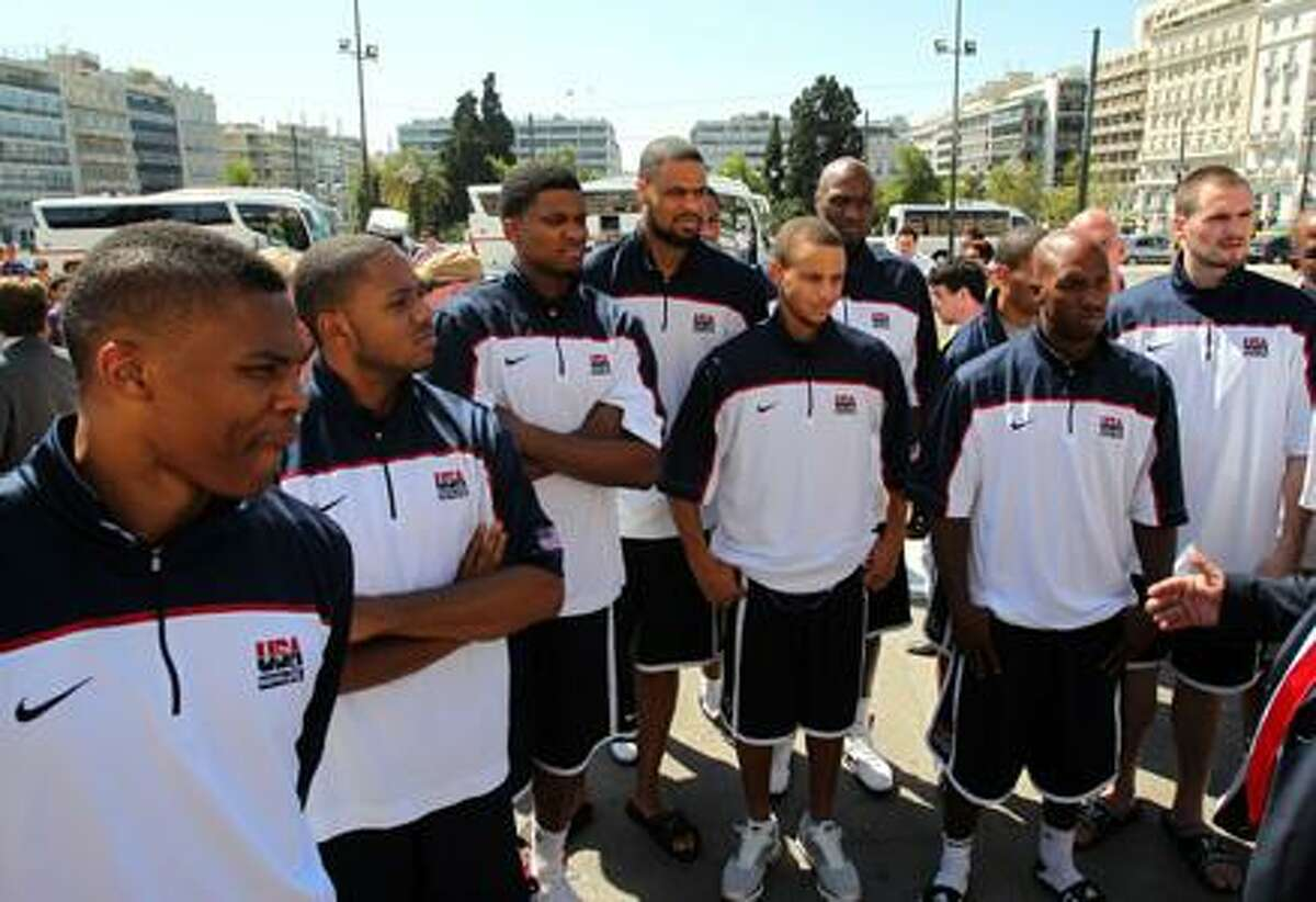 The United States basketball team visits the Tomb of the Unknown Soldier in central Athens, Tuesday, Aug. 24, 2010. The United States plays Greece Wednesday in its final tune-up game ahead of the 2010 FIBA World Championship, to be held in Turkey from Aug. 28 to Sep. 12. (AP Photo/Thanassis Stavrakis)