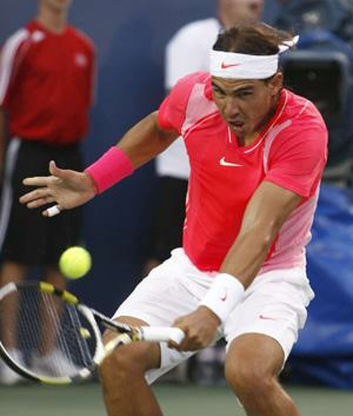 AP Rafael Nadal returns a volley to Marcos Baghdatis in a quarterfinal match at the Cincinnati Masters tennis tournament, Aug. 20, in Mason, Ohio. Nadal is the top seed in the upcoming U.S. Open.