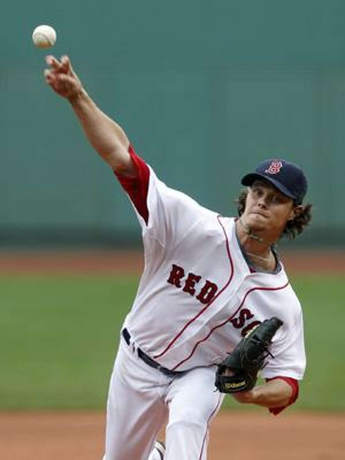 Boston Red Sox's Clay Buchholz pitches in the first inning of a baseball game against the Toronto Blue Jays in Boston, Sunday, Aug. 22, 2010. Buchholz pitched six innings of five-hit ball to lower his AL-best ERA to 2.26. The Red Sox won 5-0. (AP Photo/Michael Dwyer)