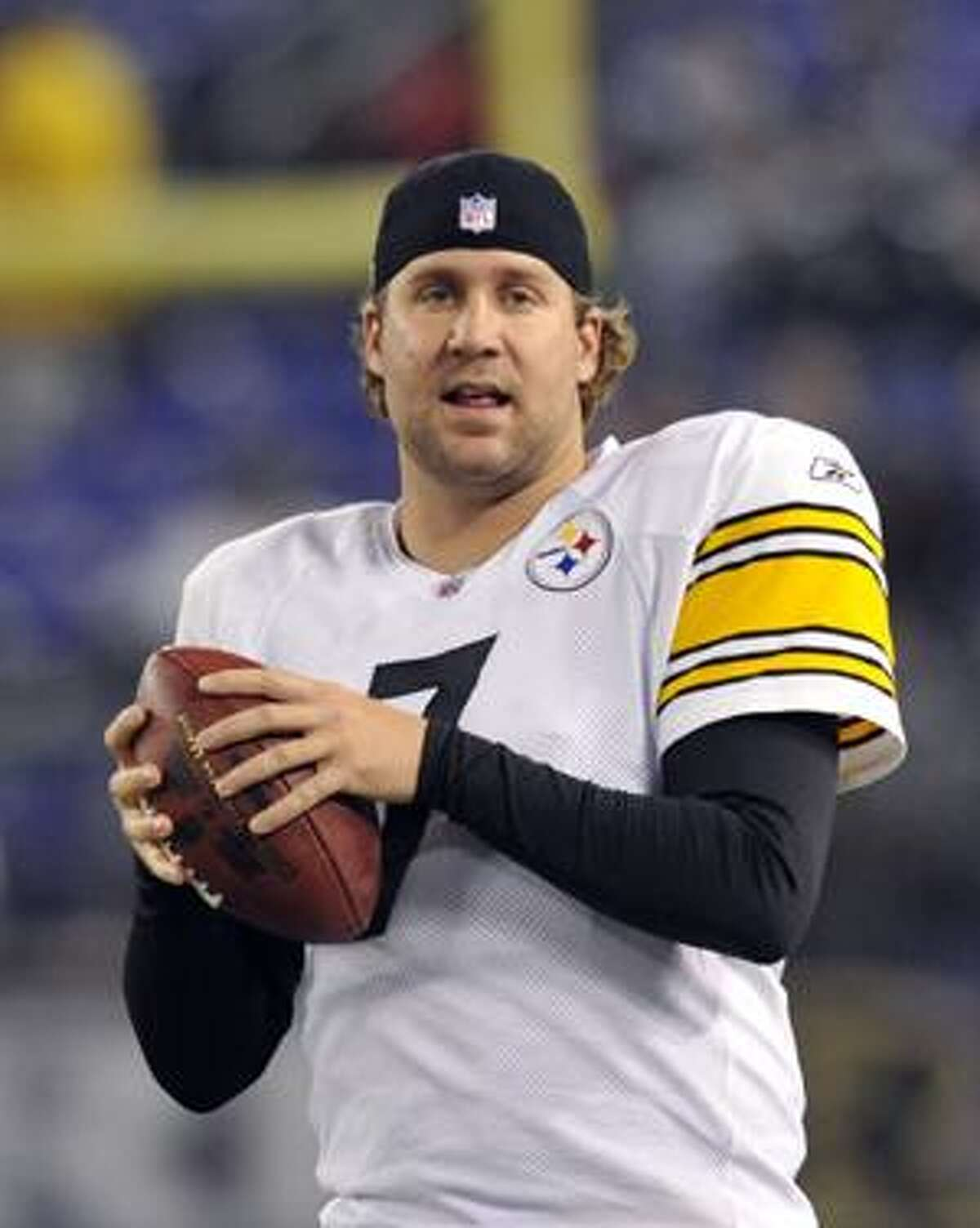 FILE - This Nov. 29, 2009, file photo shows Pittsburgh Steelers quarterback Ben Roethlisberger warming up prior to the start of an NFL football game against the Baltimore Ravens, in Baltimore.