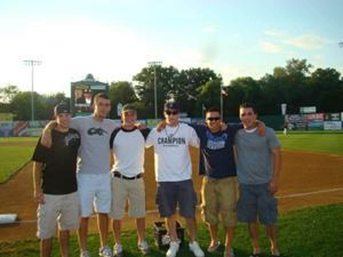 Timothy W. Gaffney photo Members of the Torrington Titans pose at New Britain Stadium after being honored by the New Britain Rock Cats prior to Thursday's game.From left: Matt Grosso, Chad Gallagher, Adam Claire, Harry Glynne, Nick Deporospo and Kyle Rosadino.