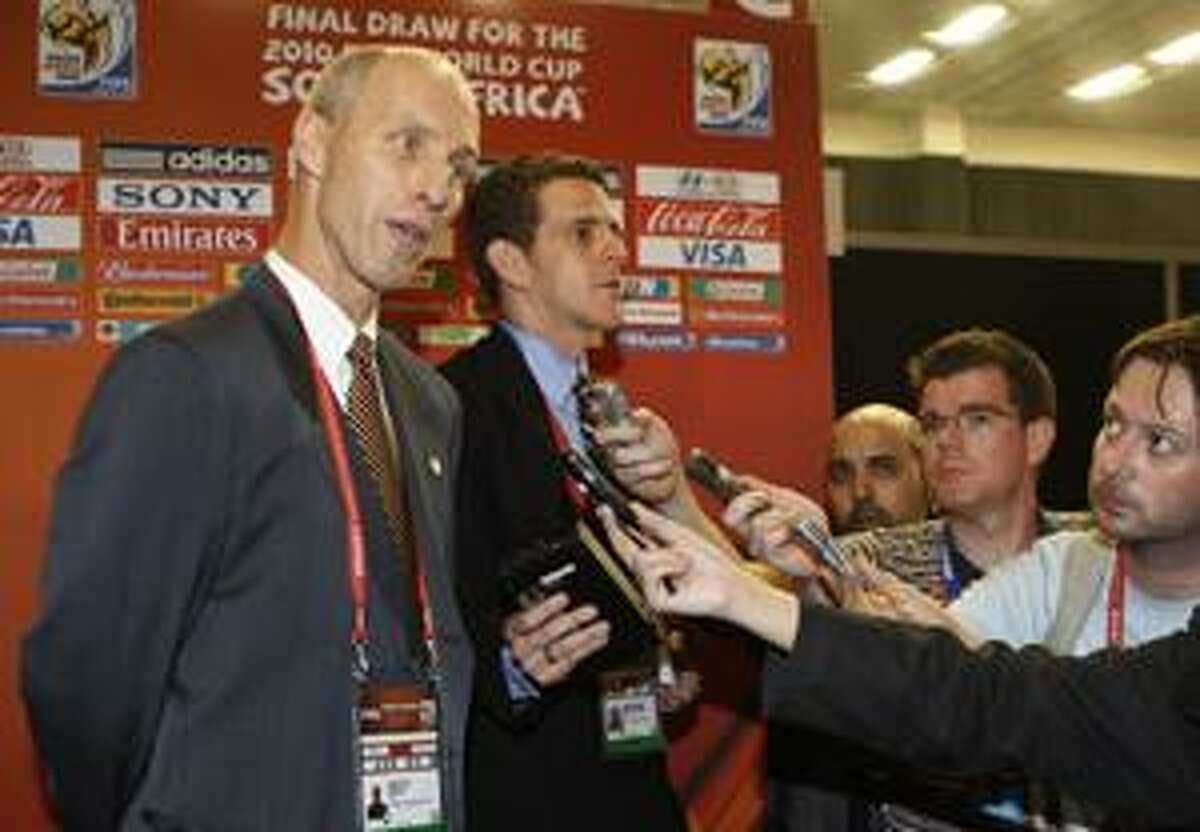 AP United States coach Bob Bradley speaks to reporters at the end of the 2010 World Cup draw ceremony in Cape Town, South Africa, on Friday.