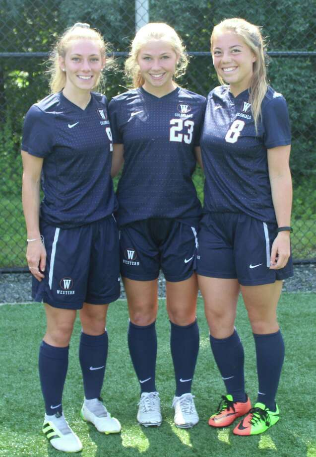 Western Connecticut State University women's soccer captains, from left, Autumn Sorice, Andrea DeVoe and Brooke Hellman. Photo: Richard Gregory / Richard Gregory