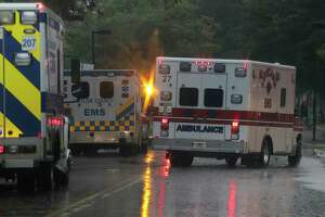 Ambulances line up to evacuate some of the ICU patients out of Ben Taub Hospital in Houston as Tropical Storm Harvey inches its way through the area on  Monday, Aug. 28, 2017. ( Elizabeth Conley / Houston Chronicle )