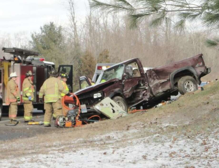 JASON SIEDZIK/ Register Citizen State police and the Torrington Fire Department responded to a one-car accident on Route 8 North Wednesday afternoon. The driver was transported to Charlotte Hungerford Hospital.