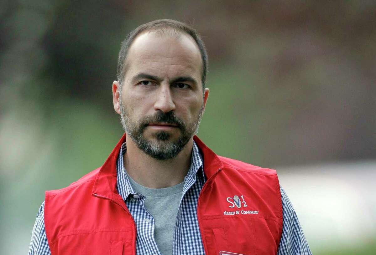 FILE- In this July 13, 2012, file photo, Dara Khosrowshahi the CEO of Expedia, Inc., attends the Allen & Company Sun Valley Conference in Sun Valley, Idaho. Two people briefed on the matter said Sunday, Aug. 27, 2017, that Khosrowshahi has been named CEO of ride-hailing giant Uber Technologies Inc. (AP Photo/Paul Sakuma, File)