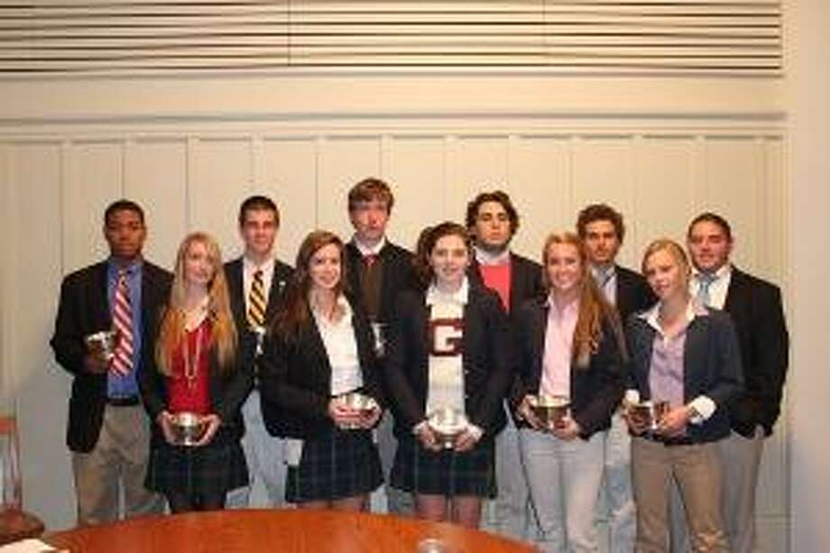Submitted photo The Gunnery fall athletics award winners pose for a photo. They are (from left to right): Xavier Parkmond '11, Danielle Tunkel '11, Tristan Kishonis '13, Laura Reckdenwald '11, Malcolm Katzenbach '11, Kirsten Bouthiller '11, Richard DelBuono '11, Darby MacKay '12, Jackson Stolar '11, Jennie Archer '11, and Daniel O'Brien '11