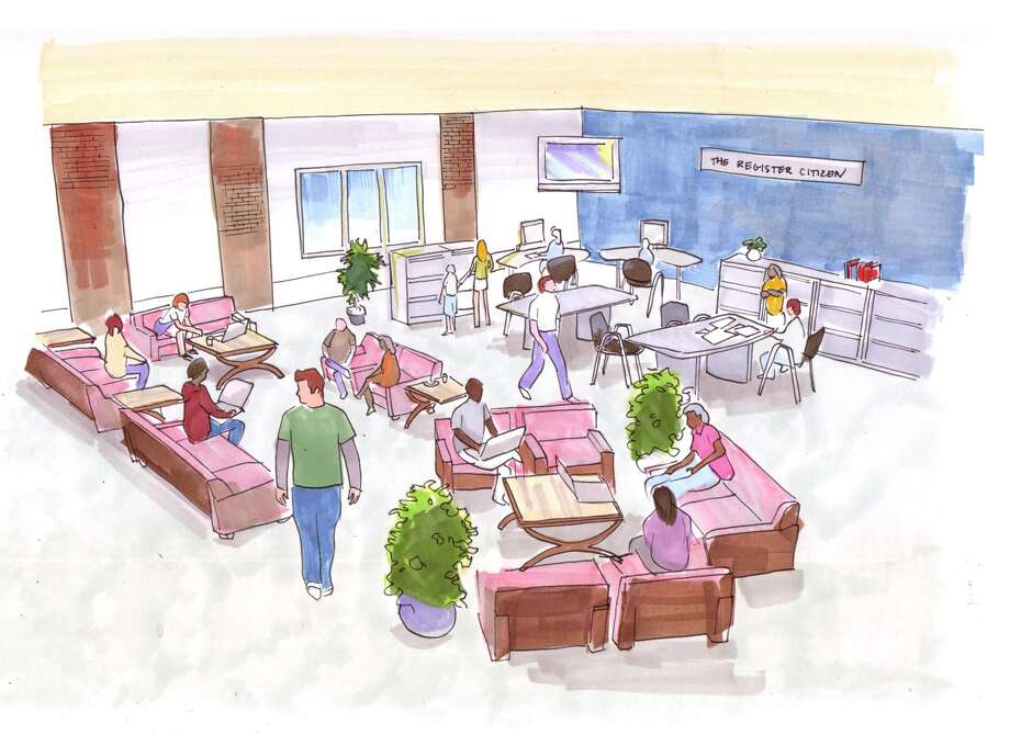 "An artist's rendering shows The Register Citizen's new Newsroom Cafe, Community Media Lab, Local News Library and Community Journalism School at 59 Field Street. (Artist's rendering by Nikki Addeo, <a href=""http://nikkiaddeo.com"">http://nikkiaddeo.com</a>)"