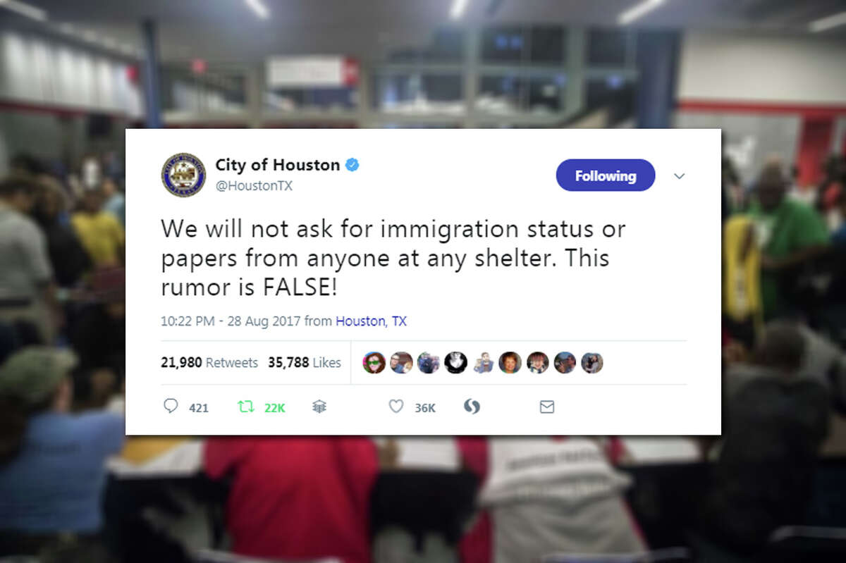 Hoax:Immigration papers need to be shownat shelters A rumor claims that people are being asked for identification and verification of their immigration status before being accepted into a shelter. This is false. Shelters are run by volunteer organizations like the American Red Cross and they do not ask for ID before providing help and assistance to people in need of help. The city of Houston shot the rumor down again on Monday night.