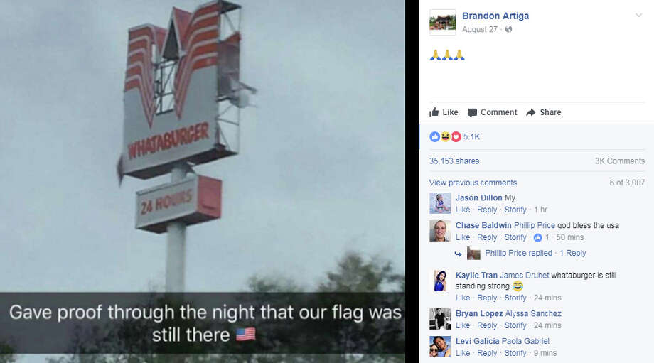 Photos: Tropical Storm Harvey floods HoustonThis image of a Whataburger sign damage by Harvey has gone viralSee more images of the damage caused by Tropical Storm Harvey. Photo: Facebook