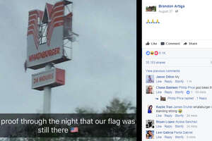 This image of a Whataburger sign damage by Harvey has gone viral