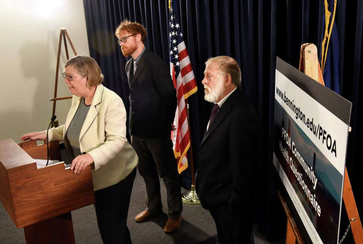 Judith Enck, former U.S. Environmental Protection Agency regional administrator, left, is joined by David Bond, associate director of the Center for the Advancement of Public Action at Bennington College, center, and Howard Freed, former director of the state Health Department's Center for Environmental Health, right, during a press conference to announce a new health survey covering three communities contaminated with toxic chemical PFOA on Tuesday morning, Aug. 29, 2017, at the Legislative Office Building in Albany, N.Y. (Will Waldron/Times Union)