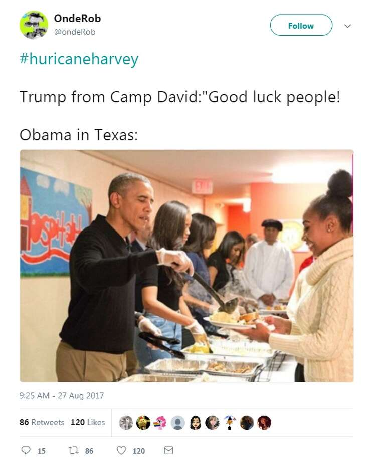 """The fake: @ondeRob: """"#huricaneharvey  Trump from Camp David:""""Good luck people!  Obama in Texas:"""""""