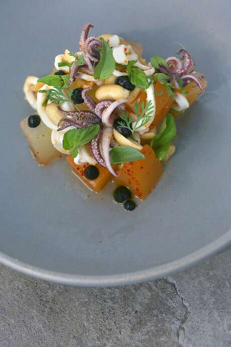 Chilled local squid and melon salad with smoked peanut, Thai chile, lime and mint at Alta MSP. Photo: Liz Hafalia, The Chronicle