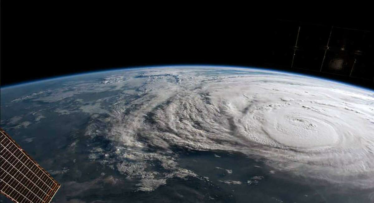 In this NASA handout image, Hurricane Harvey is photographed aboard the International Space Station as it intensified on its way toward the Texas coast on August 25, 2017. The Expedition 52 crew on the station has been tracking this storm for the past two days and capturing Earth observation photographs and videos from their vantage point in low Earth orbit.Now at category 4 strength, Harvey's maximum sustained winds had increased to 130 miles per hour. (Photo by NASA via Getty Images)