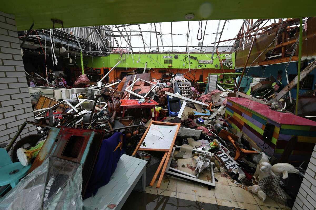 Damage to a store after Harvey hit Rockport, Texas, on August 26, 2017.