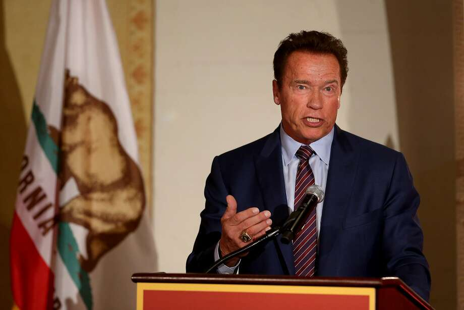 In this file photo, former California governor Arnold Schwarzenegger speaks at the National After-School Summit on the campus of USC where he advocated for after-school programs on April 5, 2017. (Rick Loomis/Los Angeles Times/TNS) Photo: Rick Loomis, TNS