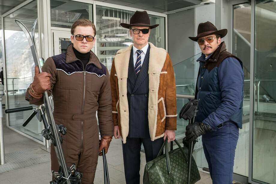"Taron Egerton (left), Colin Firth, and Pedro Pascal star in ""Kingsman: The Golden Circle."" Photo: Giles Keyte, Twentieth Century Fox"