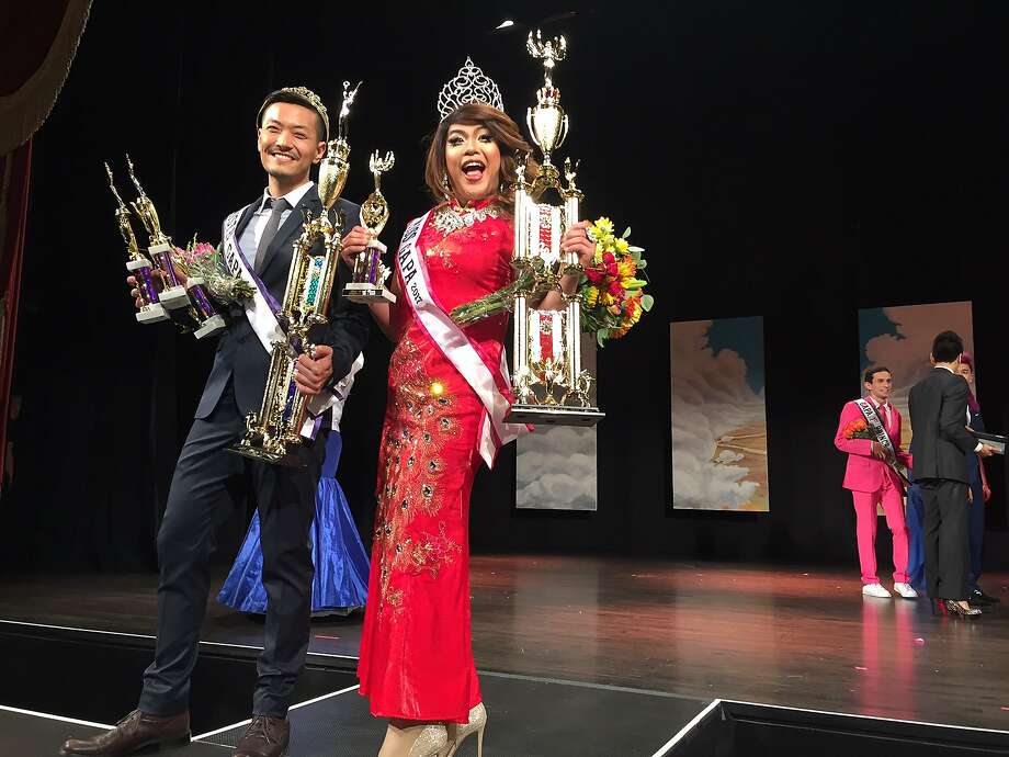 Danny Chung, Mister GAPA 2017, and co-Miss GAPA 2017 Mimi Osa at the Herbst Theatre. Photo: Beth Spotswood