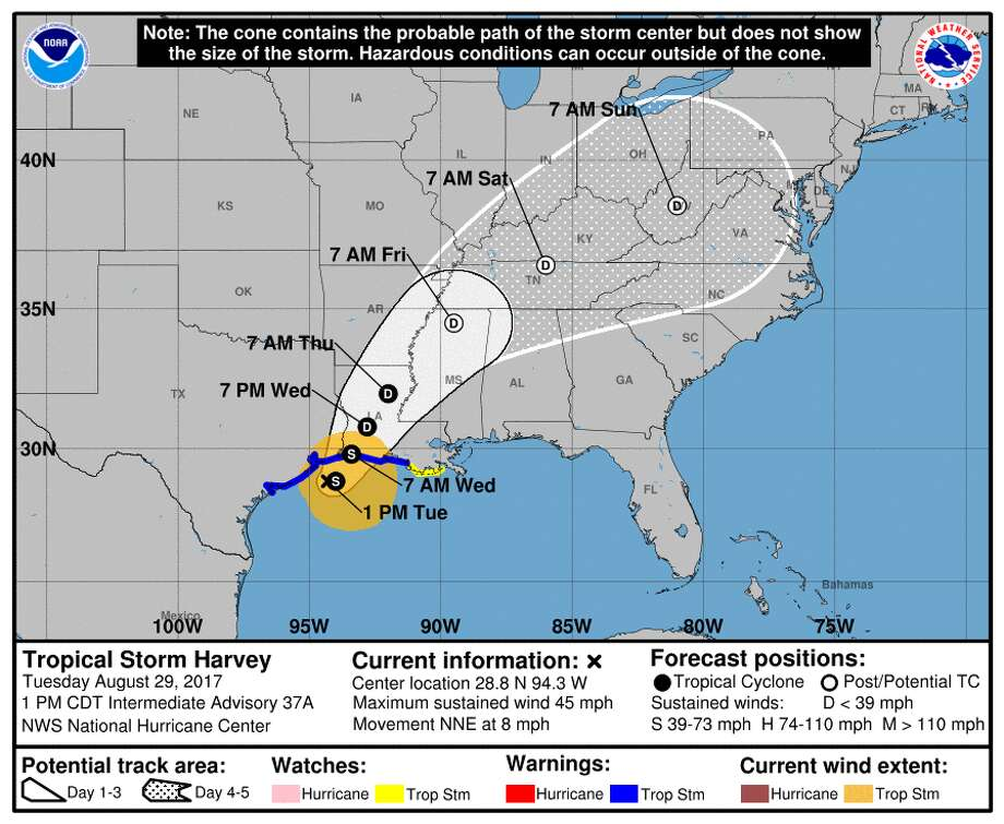 Harvey is expected to make landfall again in Louisiana on Wednesday. Photo: National Weather Service