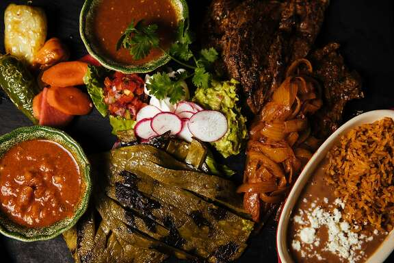 Arrachera Steak Ranchero dish with grilled arrachera steak, ranchero sauce, grilled peppers and guacamole photographed at the Pescadero Mexican Restaurant in Monterey, Calif. Thursday, August 24, 2017.