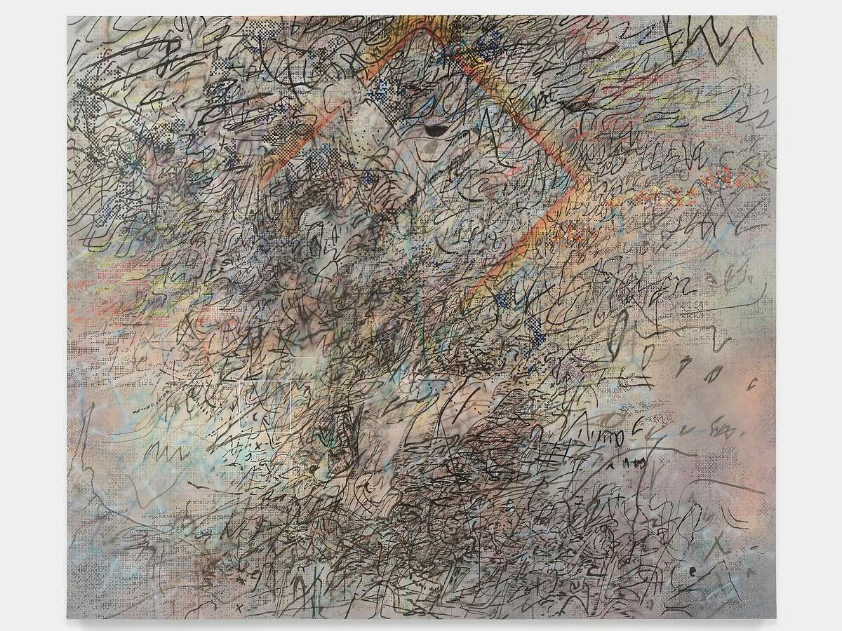 Julie Mehretu's �HOWL eon (I and II)� (2017) as they will never be seen in the lobby of the�San Francisco Museum of Modern Art.