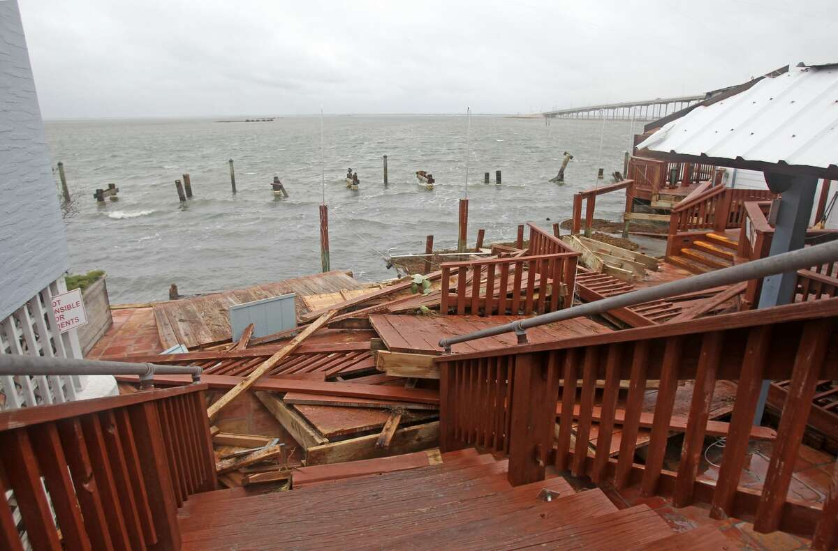 This view is from the stairs beside Scoopy's ice cream shop next door to Snoopy's Pier. Owner Ernie Buttler said the wind gauge at his Flour Bluff home measures winds of 98 mph.