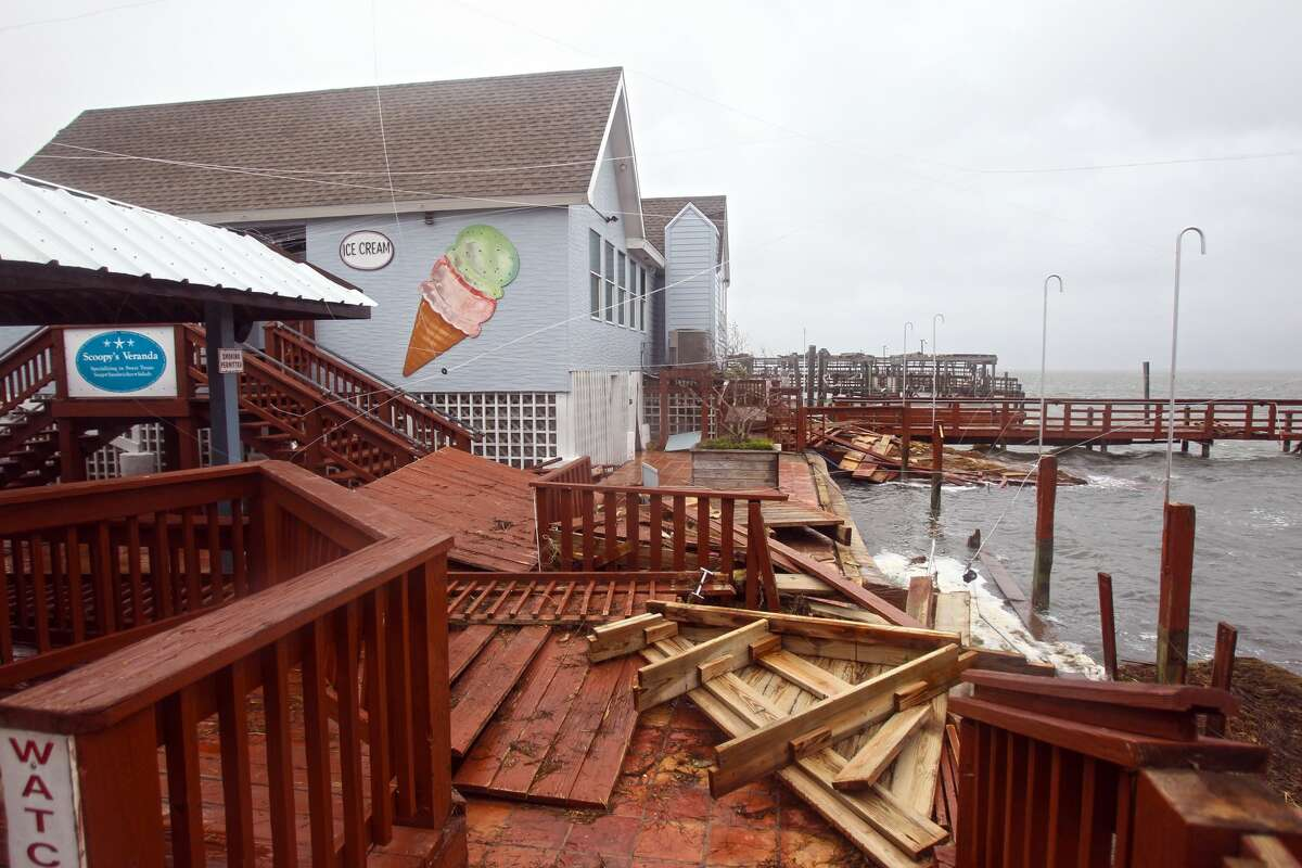Harvey's raging waters destroyed the back docks of Snoopy's Pier and Scoopy's ice cream shop under the JFK Causeway.