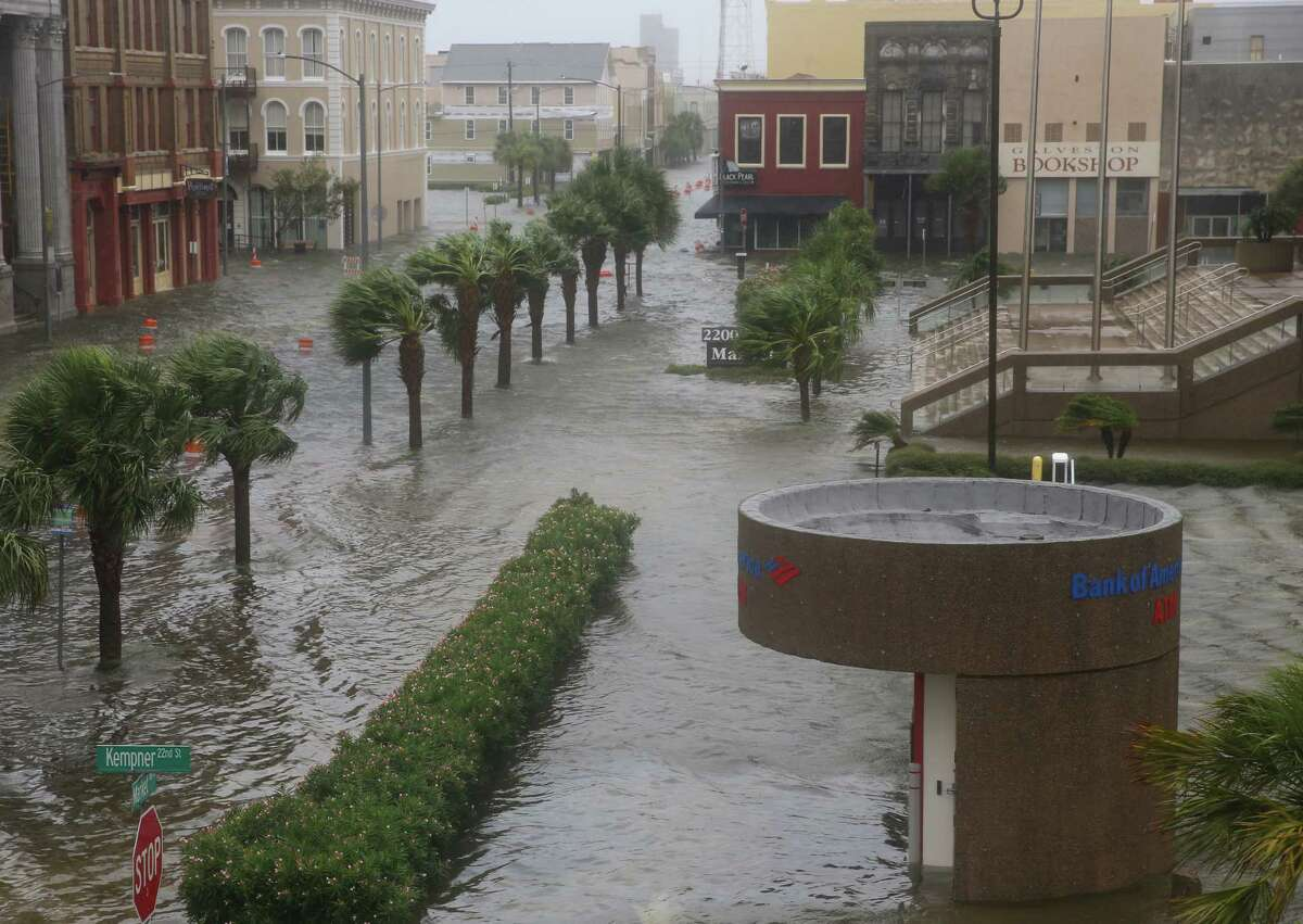 The historical downtown Galveston is underwater from the rain overnight on Tuesday, August 29, 2017, in Galveston. Some parts of the section were above waist-deep.