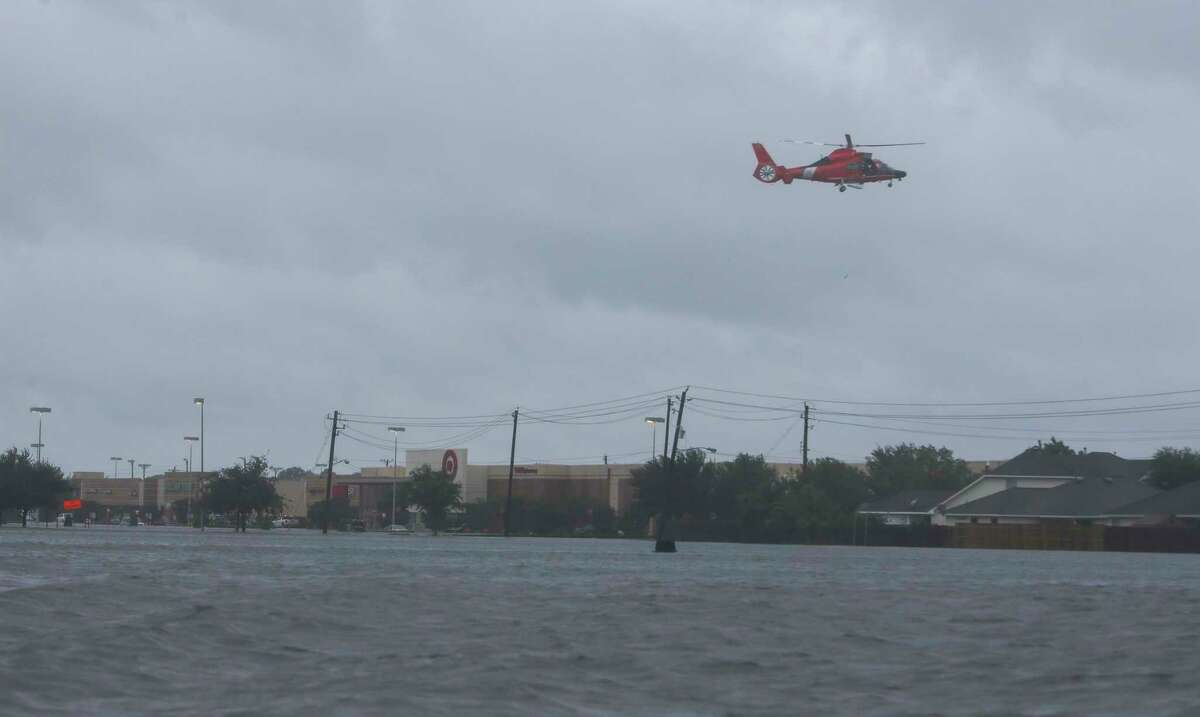 A U.S. Coast Guard rescue helicopter.