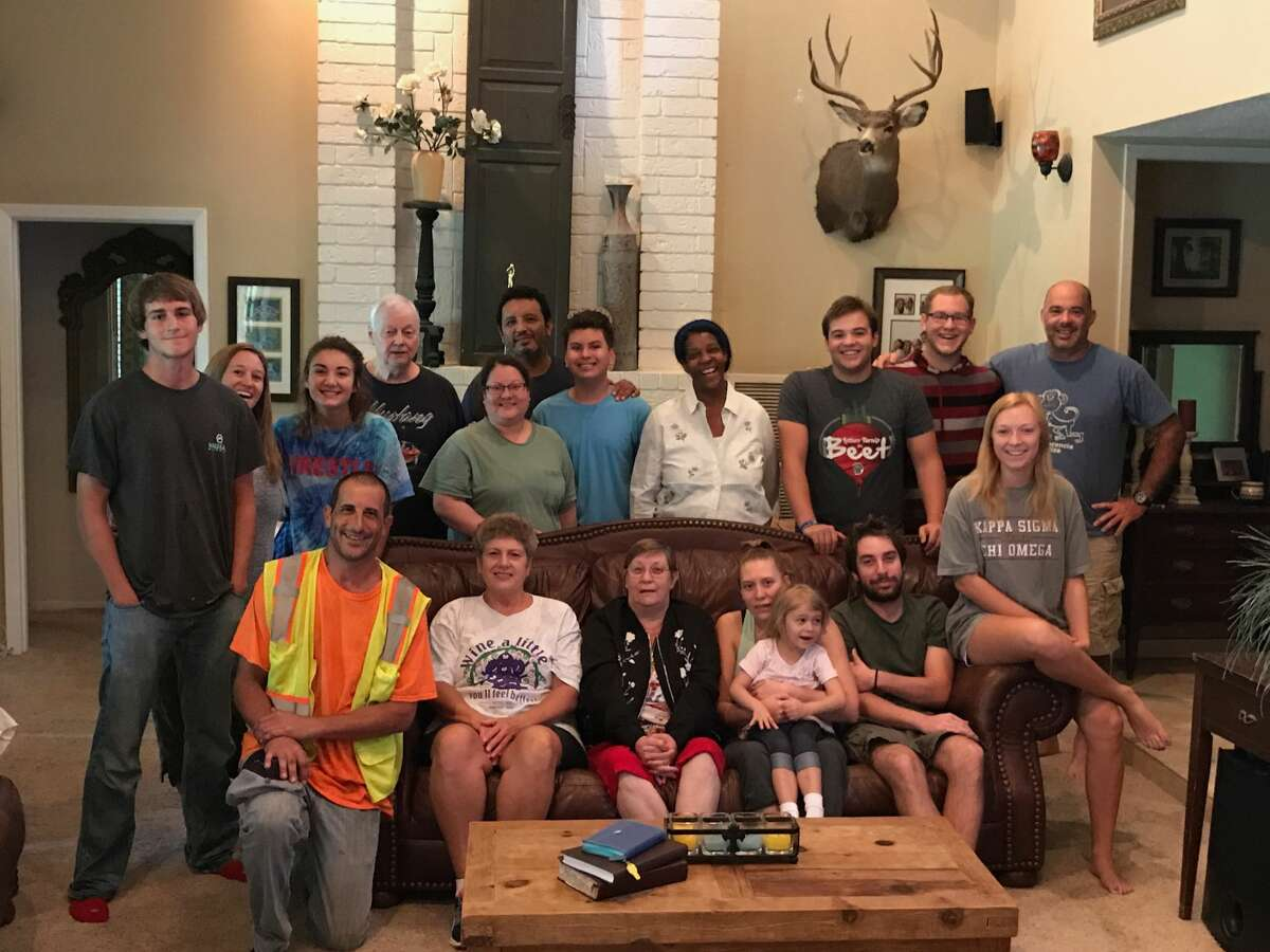 Houston's Richert family took in 16 strangers who were taking shelter at a Shell gas station Monday.