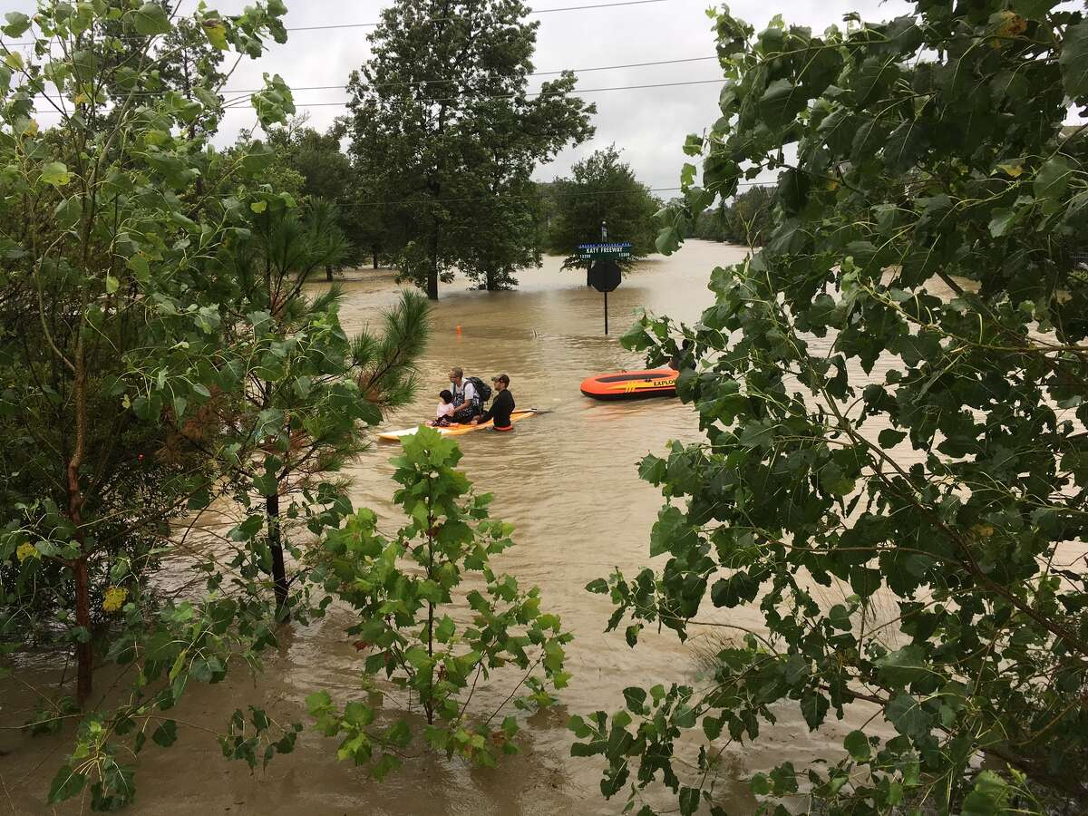 Water rescue off Katy Freeway near BP campus on Tuesday, Aug. 29, 2017.
