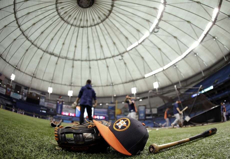 Houston Astros players take batting practice before a baseball game against the Texas Rangers Tuesday, Aug. 29, 2017, in St. Petersburg, Fla. The Astros moved their three game home series against the Rangers to St. Petersburg because of unsafe conditions from Hurricane Harvey. (AP Photo/Chris O'Meara) Photo: Chris O'Meara, Associated Press