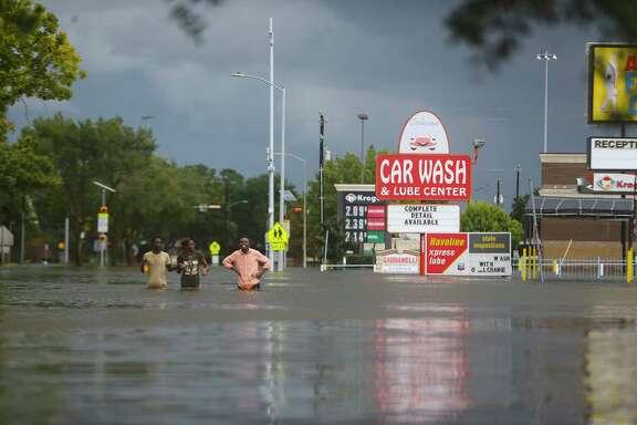 West Belfort is filled with water during extreme flooding near Westbury, Sunday, Aug. 27, 2017, in Houston.  (Mark Mulligan / Houston Chronicle)