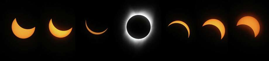 """A composite photo of the stages of a solar eclipse as viewed from South Mike Sedar Park on Aug. 21, 2017 in Casper, Wyoming. Millions of people flocked to areas in the """"path of totality"""" to experience a total solar eclipse. Photo: Justin Sullivan /Getty Images / 2017 Getty Images"""